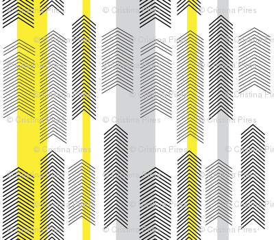 chevron stripe in yellow & gray