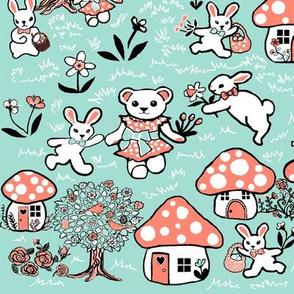 Mint and peach rabbit garden