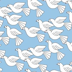 Doves Soaring - blue