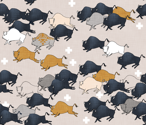 Buffalo Stampede fabric by nouveau_bohemian on Spoonflower - custom fabric
