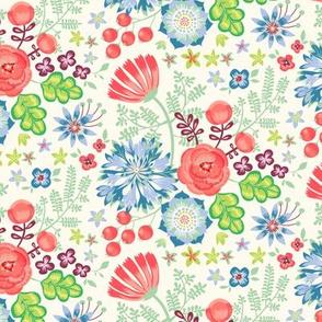 Flowergarden - creme flowers