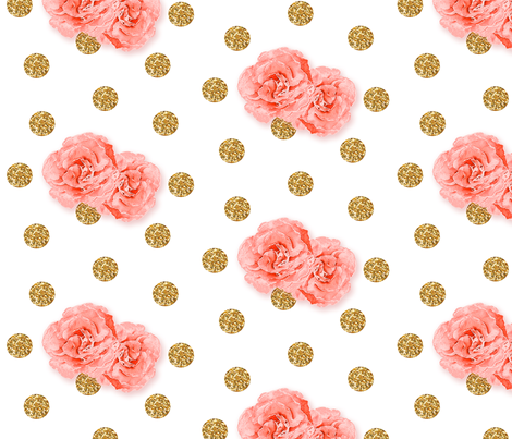Watercolor Roses on Gold Glitter fabric by willowlanetextiles on Spoonflower - custom fabric