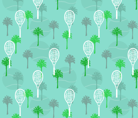 Tennis Anyone with Palm Trees fabric by lauriekentdesigns on Spoonflower - custom fabric