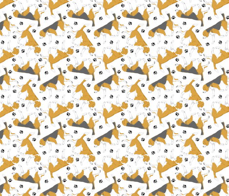 Trotting Beagles and paw prints - white fabric by rusticcorgi on Spoonflower - custom fabric