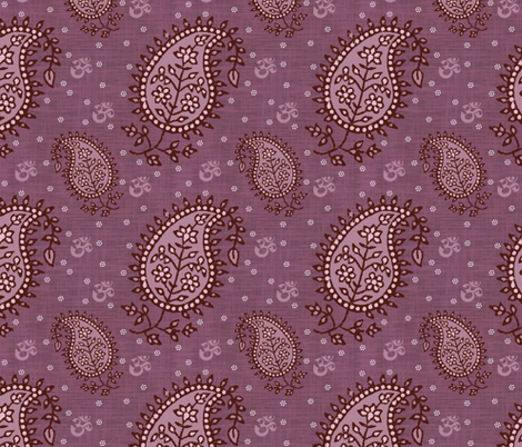 Shanti Blooms Plum fabric by brainsarepretty on Spoonflower - custom fabric
