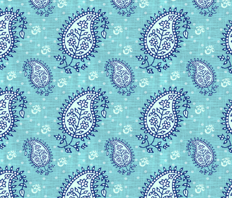 Shanti Blooms Sky fabric by brainsarepretty on Spoonflower - custom fabric