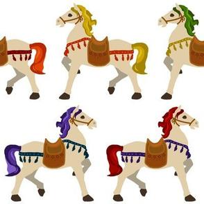 rainbow horses white