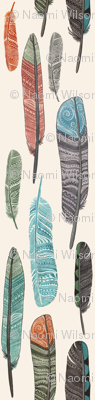 Watercolor Feathers Fabric Design 1