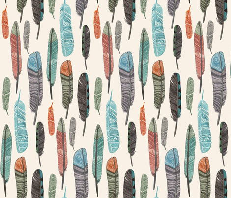 Watercolor Feathers Fabric Design 1 fabric by bella_modiste on Spoonflower - custom fabric