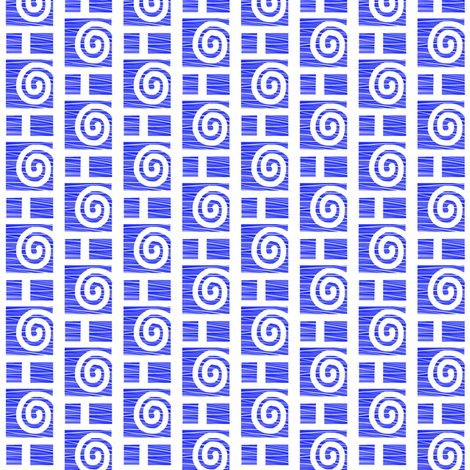 Blue Spirals and Boxes fabric by eve_catt_art on Spoonflower - custom fabric