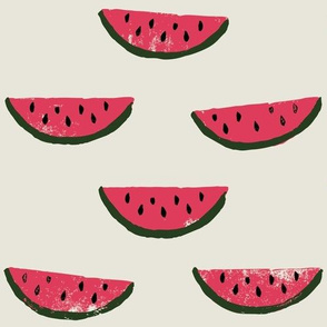 Watermelon Fabric on Cream