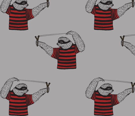 Sloth with Sling Shot fabric by bella_modiste on Spoonflower - custom fabric