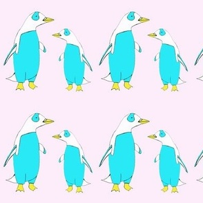 Penguin family on cotton candy