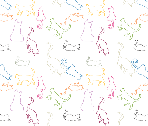 Mischievous Cats outline fabric by colour_angel_by_kv on Spoonflower - custom fabric