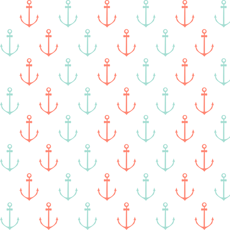 Nautical Anchor - Coral and Mint fabric by papercanoefabricshop on Spoonflower - custom fabric