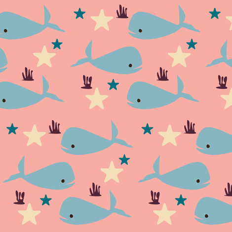 whale fabric by bruxamagica on Spoonflower - custom fabric
