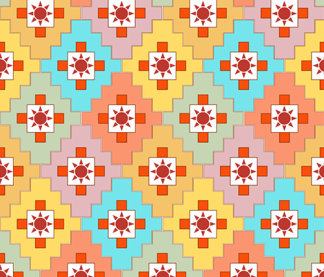 southwest_patchwork_with_sun fabric by tangledvinestudio on Spoonflower - custom fabric