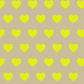 Neon Yellow Hearts on Natural