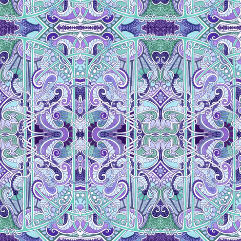 Twisted Paisley Blues (and lavenders) fabric by edsel2084 on Spoonflower - custom fabric
