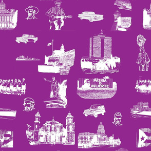 Cuban Landmark Toile Purple