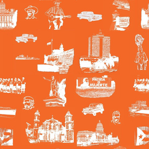 Cuban Landmark Toile Orange
