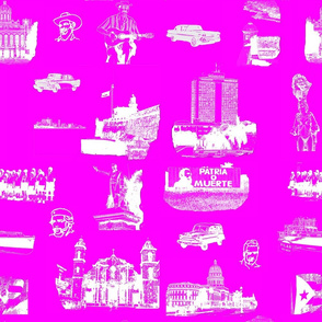 Cuban Landmark Toile Pink