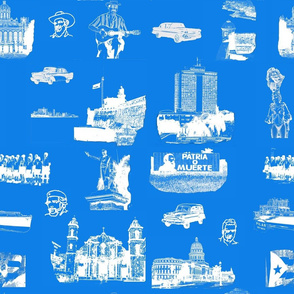 Cuban Landmark Toile Blue