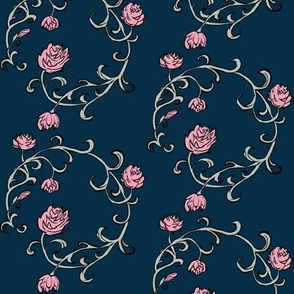 Ring of Roses: Pink on Navy