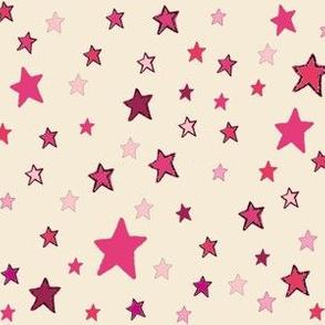 Pink Stars on Cream