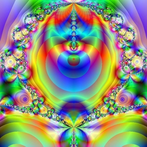 psychedelic rainbow fractal blue
