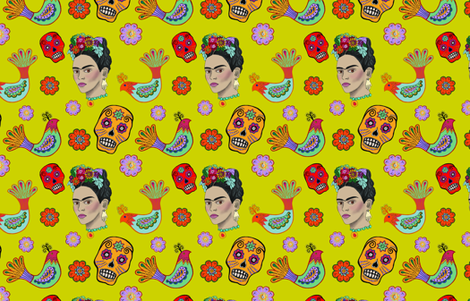 Frida on Yellow fabric by bohobanjocloth on Spoonflower - custom fabric