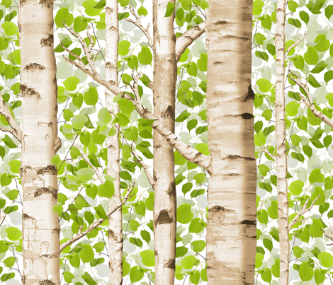 Birch Grove in Spring fabric by willowlanetextiles on Spoonflower - custom fabric