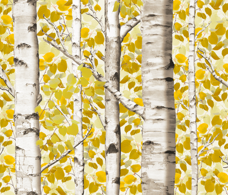 Birch Grove in Autumn fabric by willowlanetextiles on Spoonflower - custom fabric