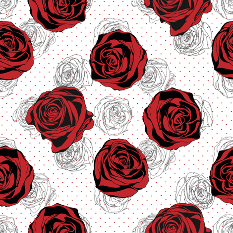 Red rose pattern fabric by ka_lou on Spoonflower - custom fabric