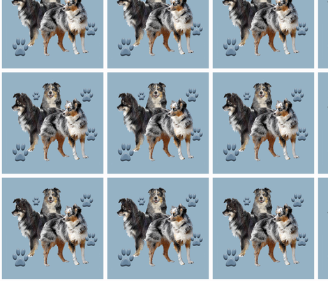 Australian Shepherd family group fabric by dogdaze_ on Spoonflower - custom fabric