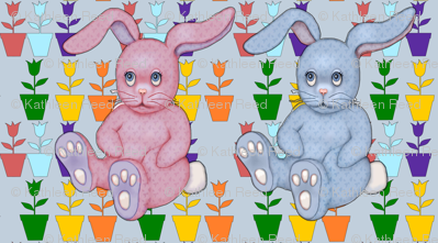bunnies and tulips