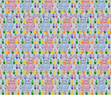 bunnies and tulips fabric by dogdaze_ on Spoonflower - custom fabric