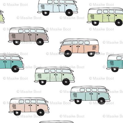 Soft pastel VWbus summer van illustration cool vintage car theme gender neutral version