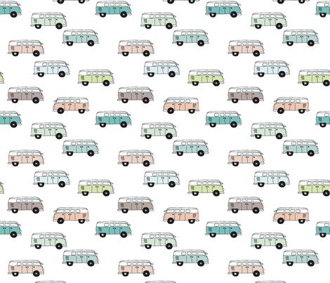 Soft pastel VWbus summer van illustration cool vintage car theme gender neutral version fabric by littlesmilemakers on Spoonflower - custom fabric