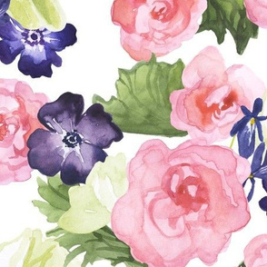 Ranunculous and Poppy Watercolor Flower Print