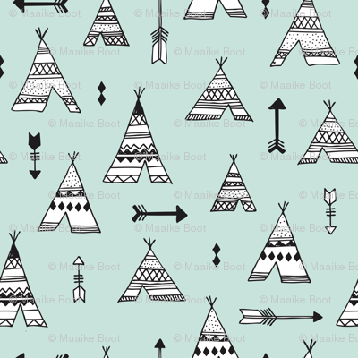 Trendy teepee and indian summer arrow illustration geometric aztec print in mint