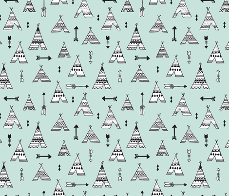 Trendy teepee and indian summer arrow illustration geometric aztec print in mint fabric by littlesmilemakers on Spoonflower - custom fabric