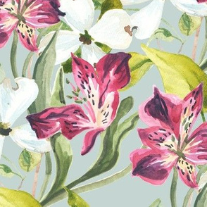 Lilies and Magnolias Watercolor Flowers