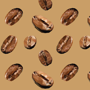 Pattern Low Poly Ccoffee Beans
