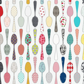 Kitchen Utensils Wallpaper kitchen utensils fabric, wallpaper & gift wrap - spoonflower