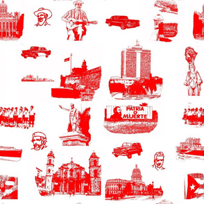 Cuban Landmark Toile Red on White