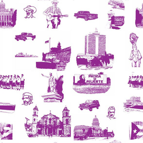 Cuban Landmark Toile Purple on White