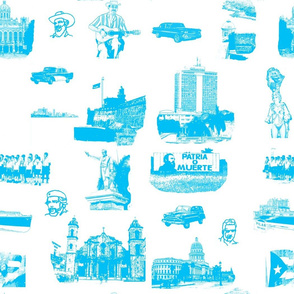 Cuban Landmark Toile Blue on White