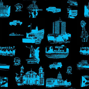 Cuban Landmark Toile Blue on Black