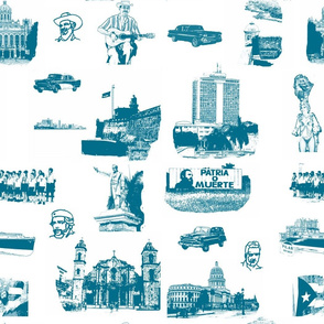 Cuban Landmark Toile French Blue_on_White